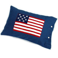 Embroidered Denim Flag Pillow - Retro Barn Country Linens