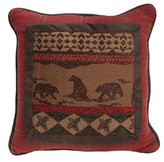 Cascade Lodge Bear Scene Pillow - Retro Barn Country Linens