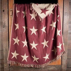 Burgundy Star Woven Throw - Retro Barn Country Linens