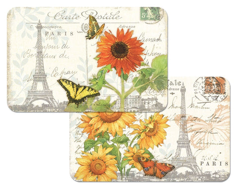 Sunflower Postcard Placemat Set - Retro Barn Country Linens