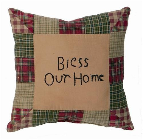 "Tea Cabin ""Bless Our Home"" Pillow - Retro Barn Country Linens"
