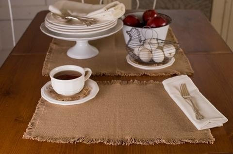 Burlap Natural Placemat Set - Retro Barn Country Linens