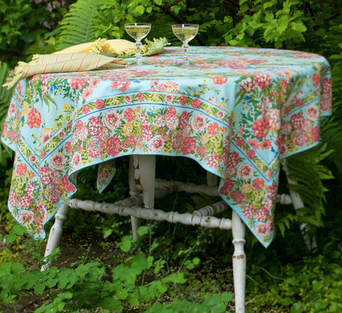 Zinnia Garden Tablecloth - Retro Barn Country Linens - 1