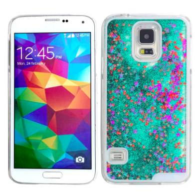 Green Star Glitter Waterfall Samsung Phone Case