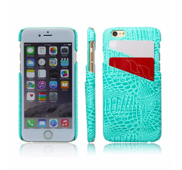 Blue Croc Card Holder Phone Case