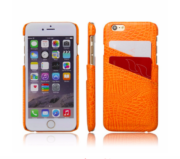 Orange Croc Card Holder Phone Case