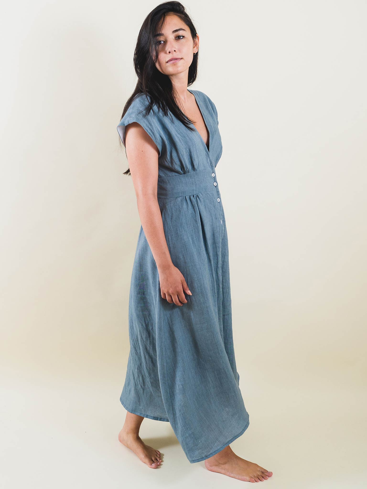 Catherine Dress in Chambray Linen