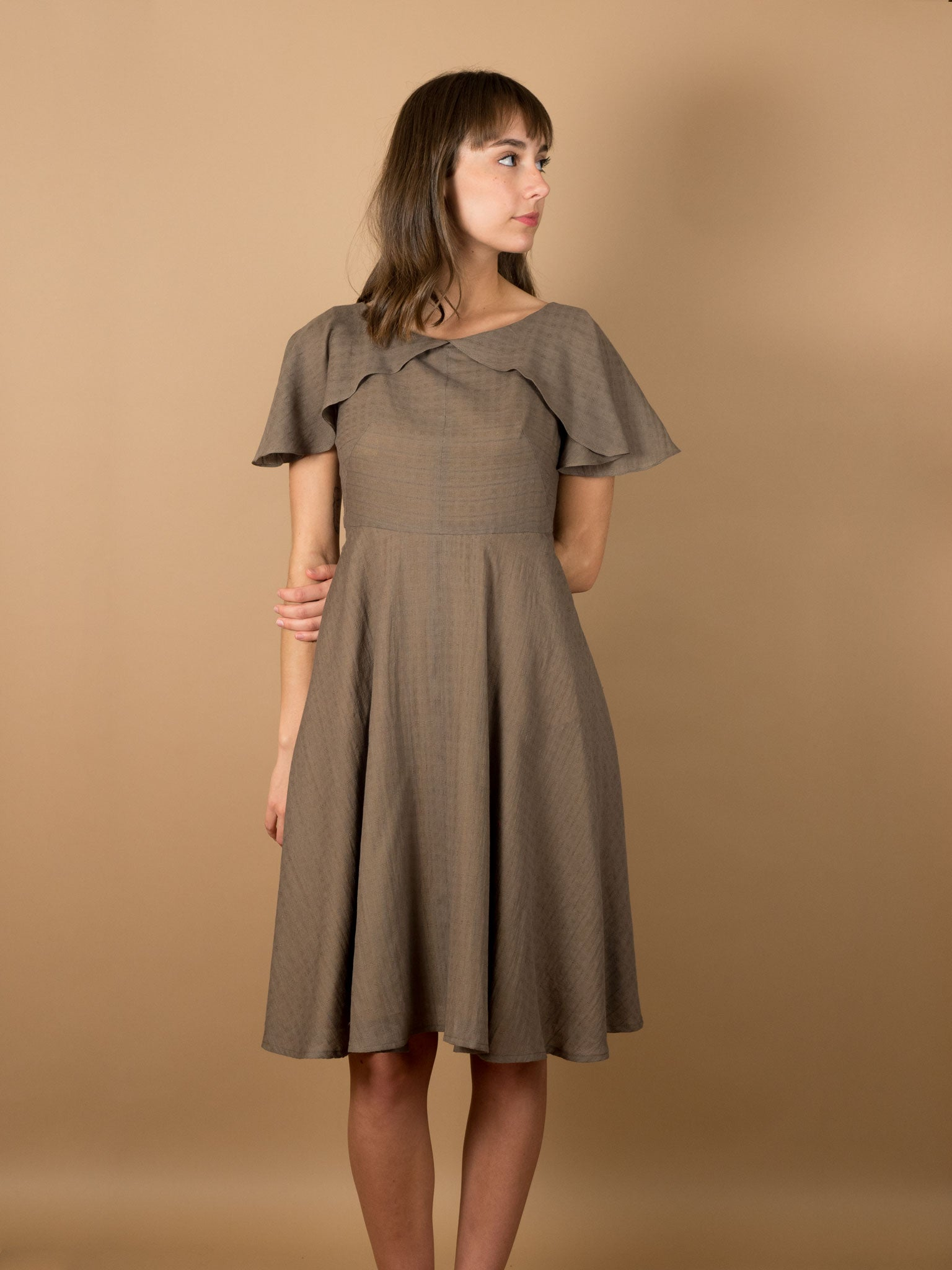 Darla Dress in Mocha Khadi