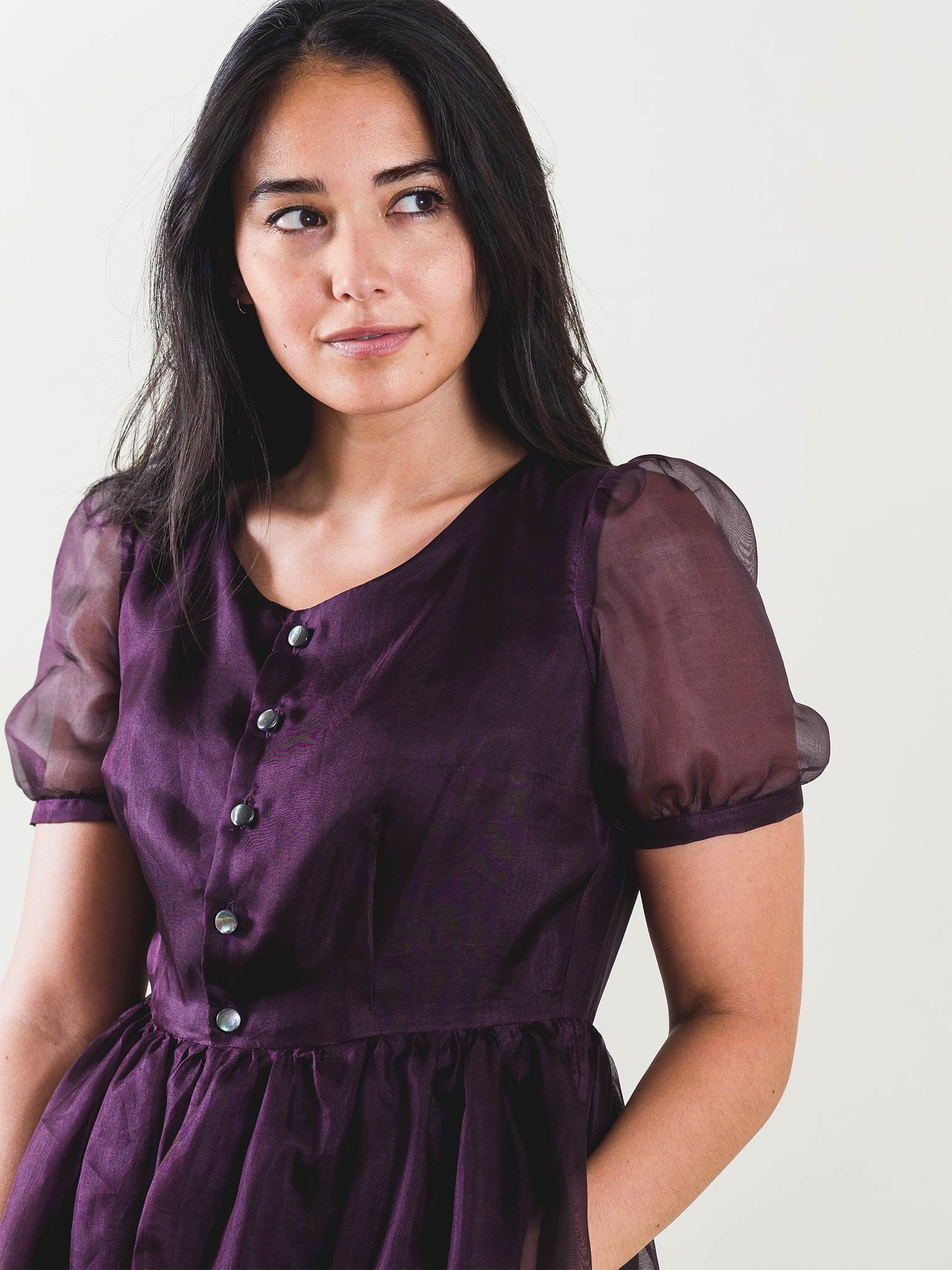 Eleanor Dress in Eggplant Organza