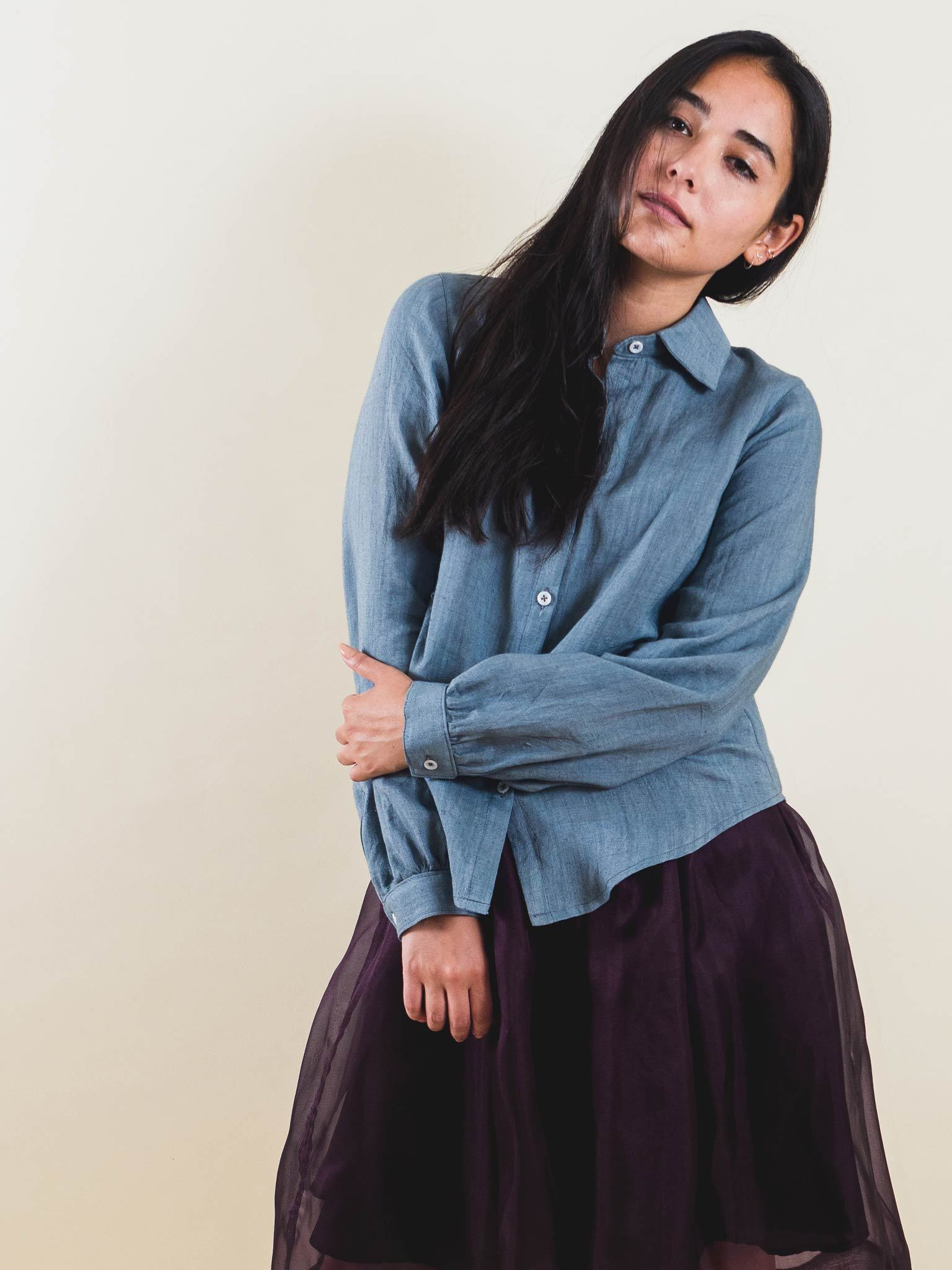 Matilda Top in Chambray Linen