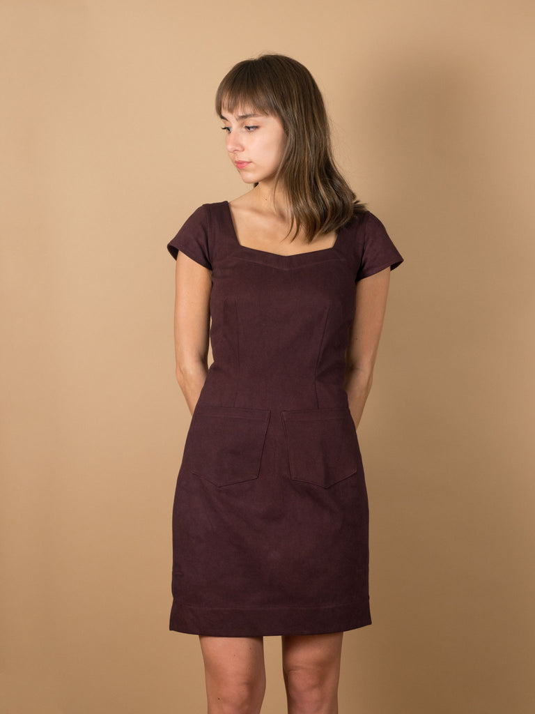 Phoebe Dress in Eggplant Denim