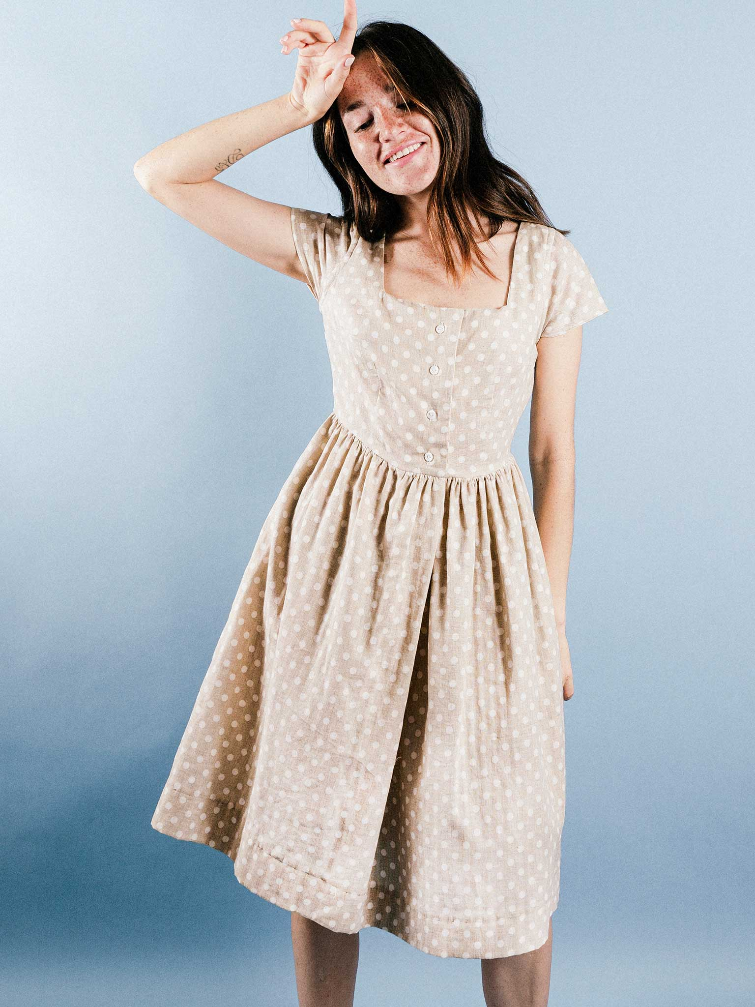 Rosie Dress in Sesame Dot