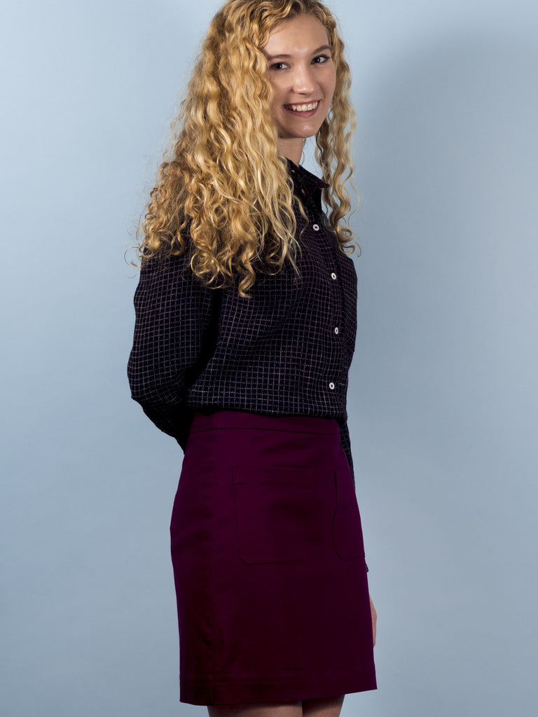 Archer Skirt in Mulberry Twill