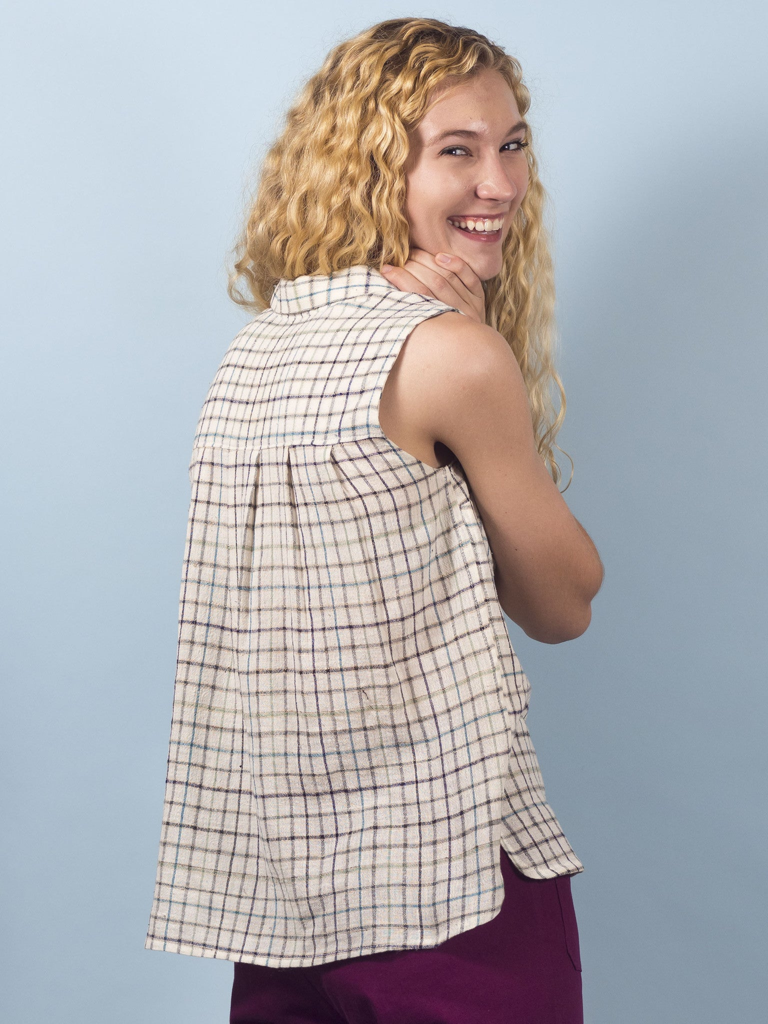 Calla Top in Ivory Plaid