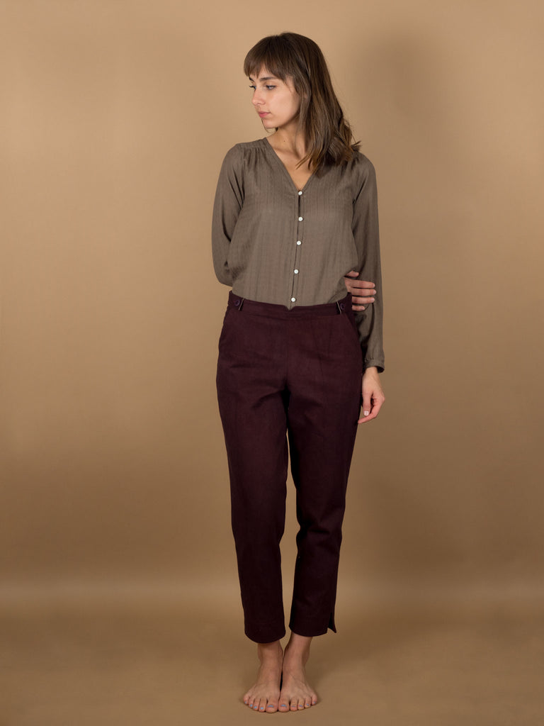 Caspar Pants in Eggplant Denim