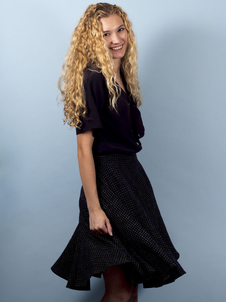 Clover Skirt in Black Grid