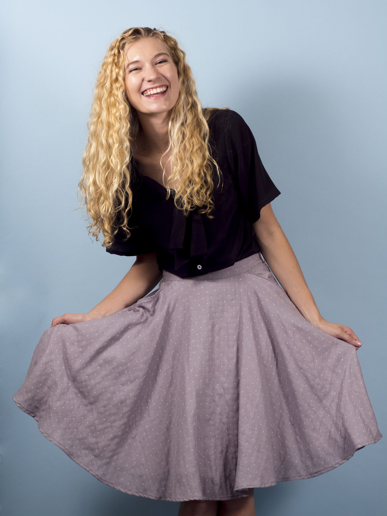 Clover Skirt in Mist Dot