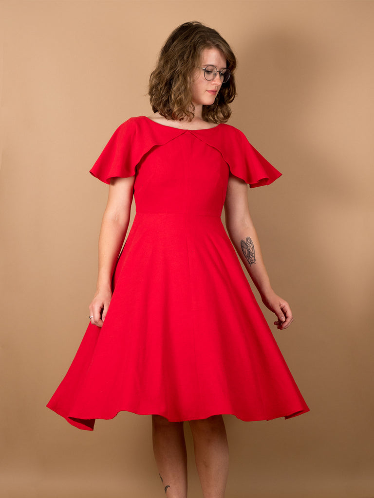 Darla Dress in Holly Berry Silk Noil