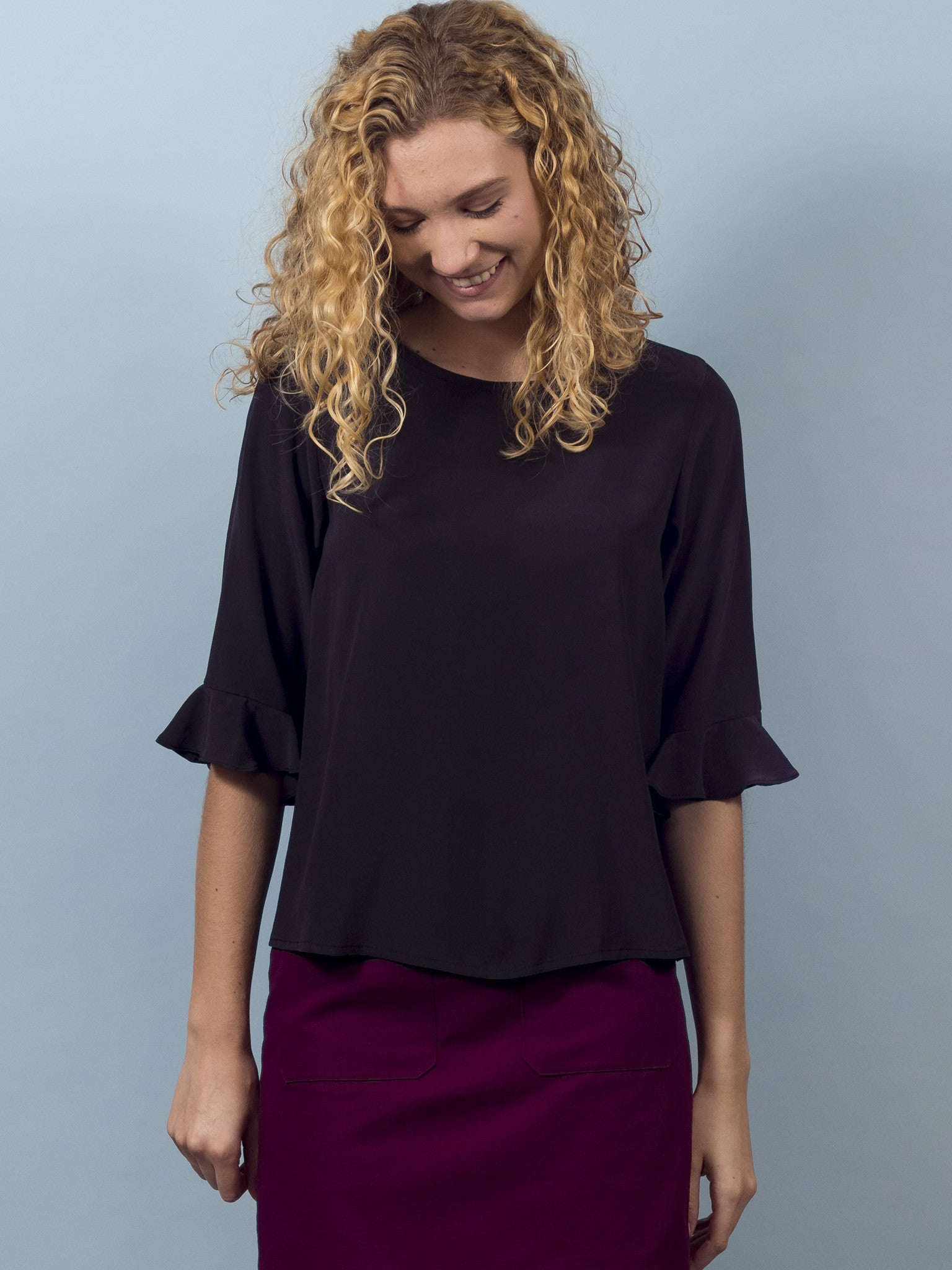 Delphine Top in Almost Black