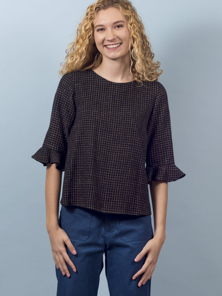 Delphine Top in Black Grid