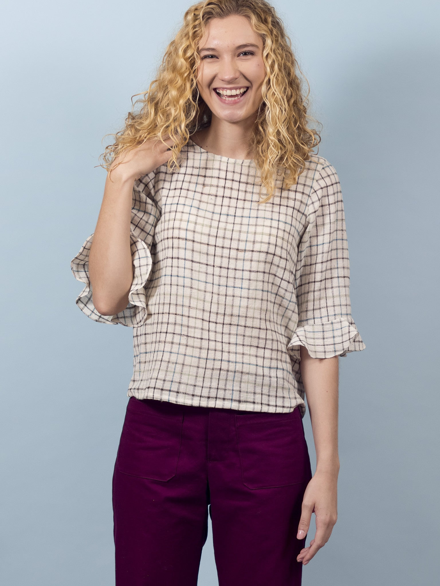Delphine Top in Ivory Plaid