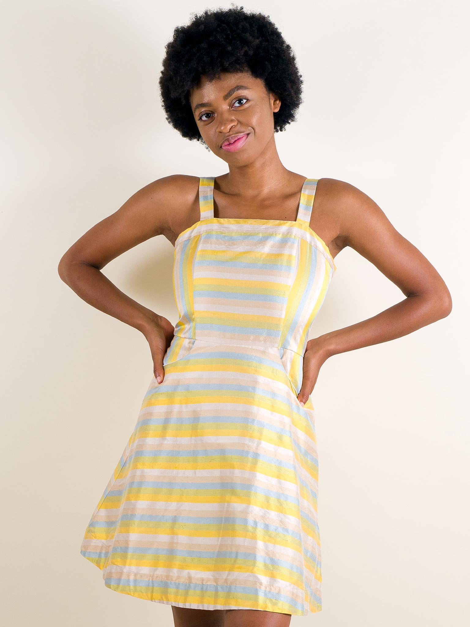 Dory Dress in Shantung Stripe