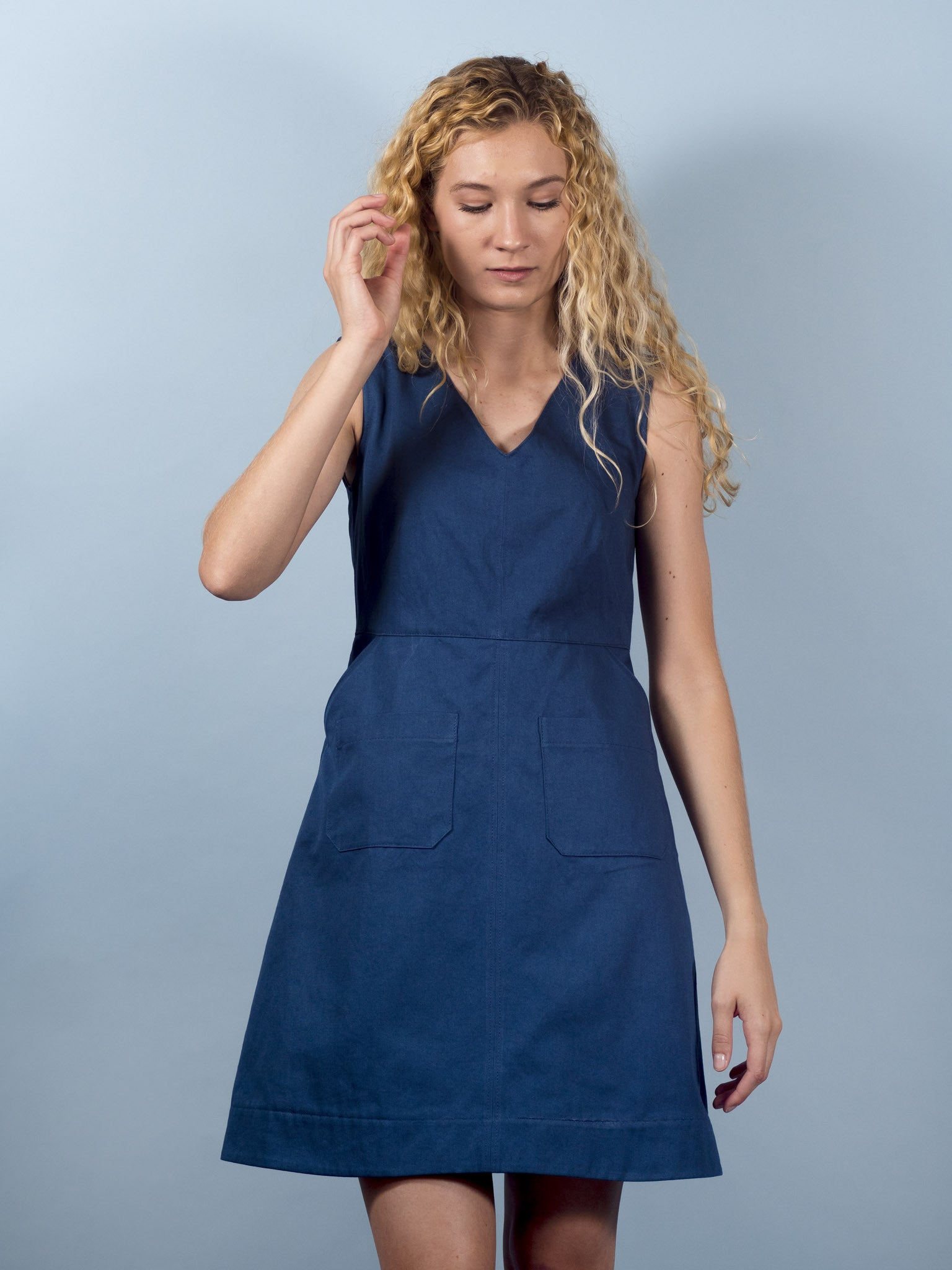 Gemma Dress in Aegean Twill