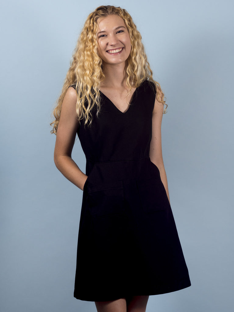 Gemma Dress in Black Twill