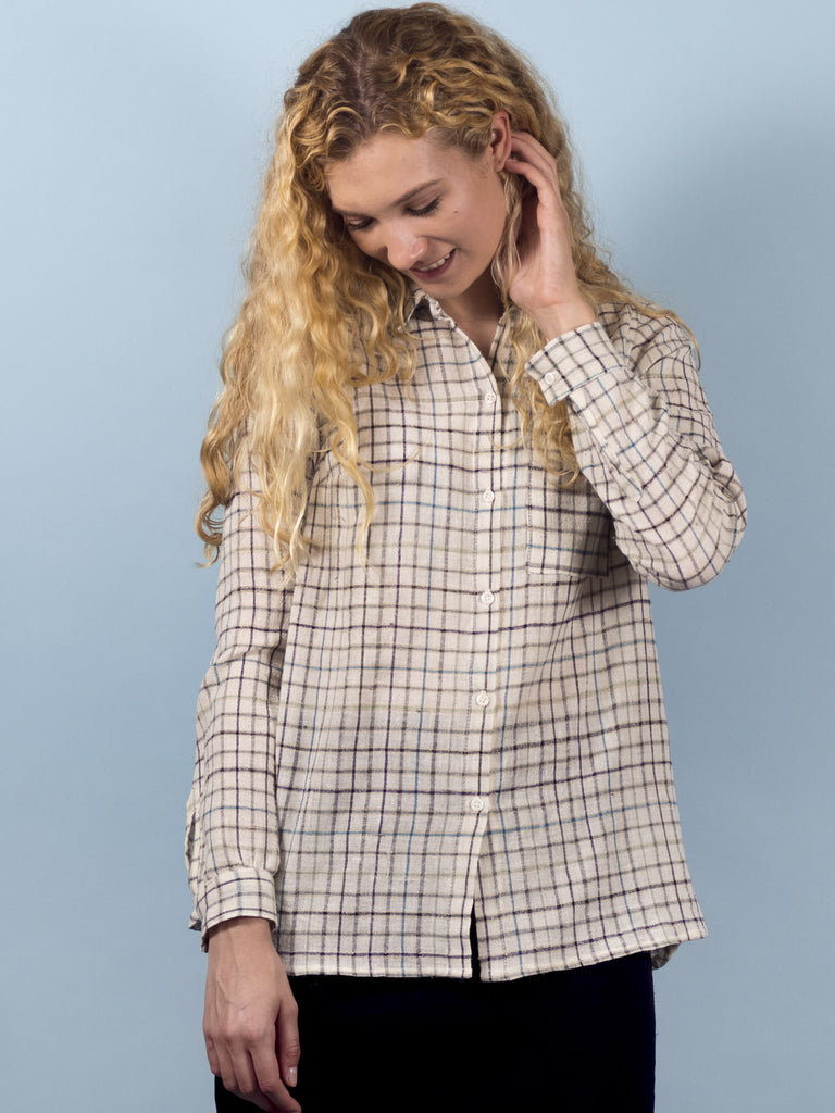 Hawthorn Top in Ivory Plaid