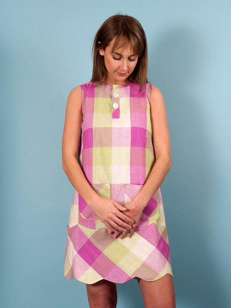 Hummingbird Dress in Iris Plaid