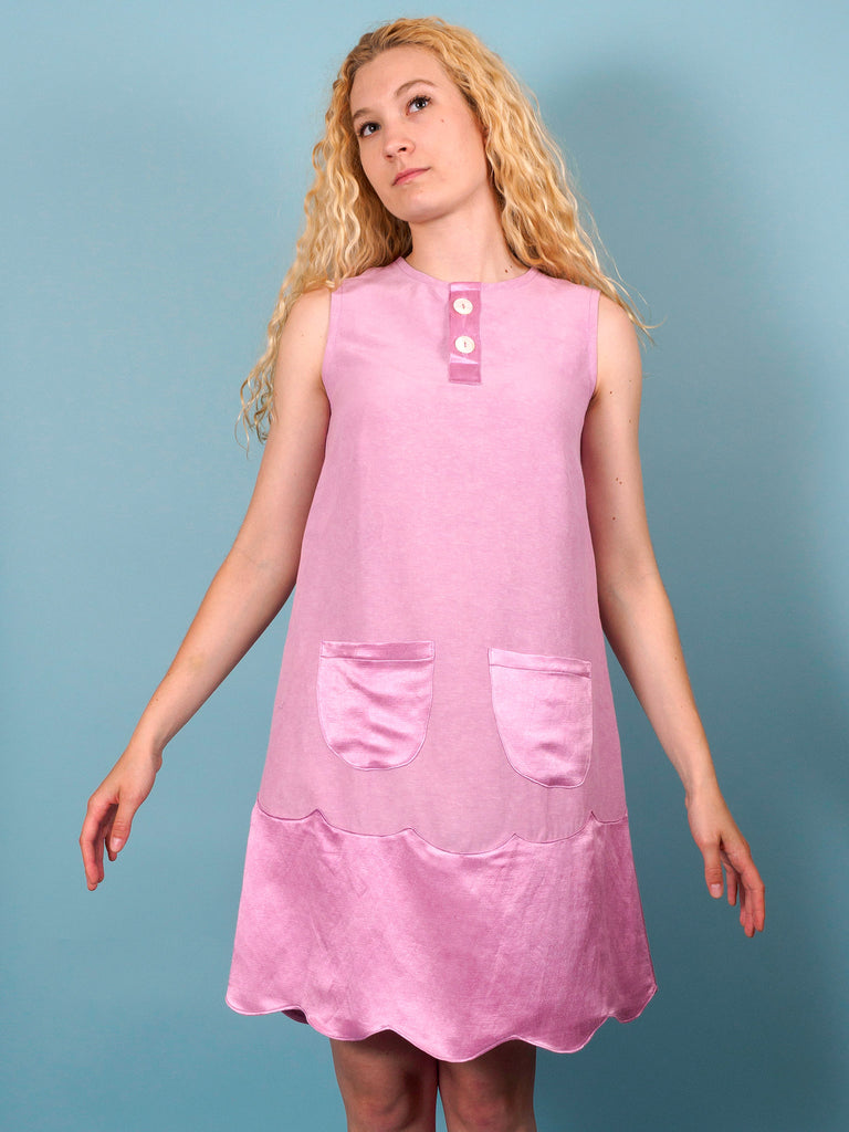 Hummingbird Dress in Lilac Charmeuse