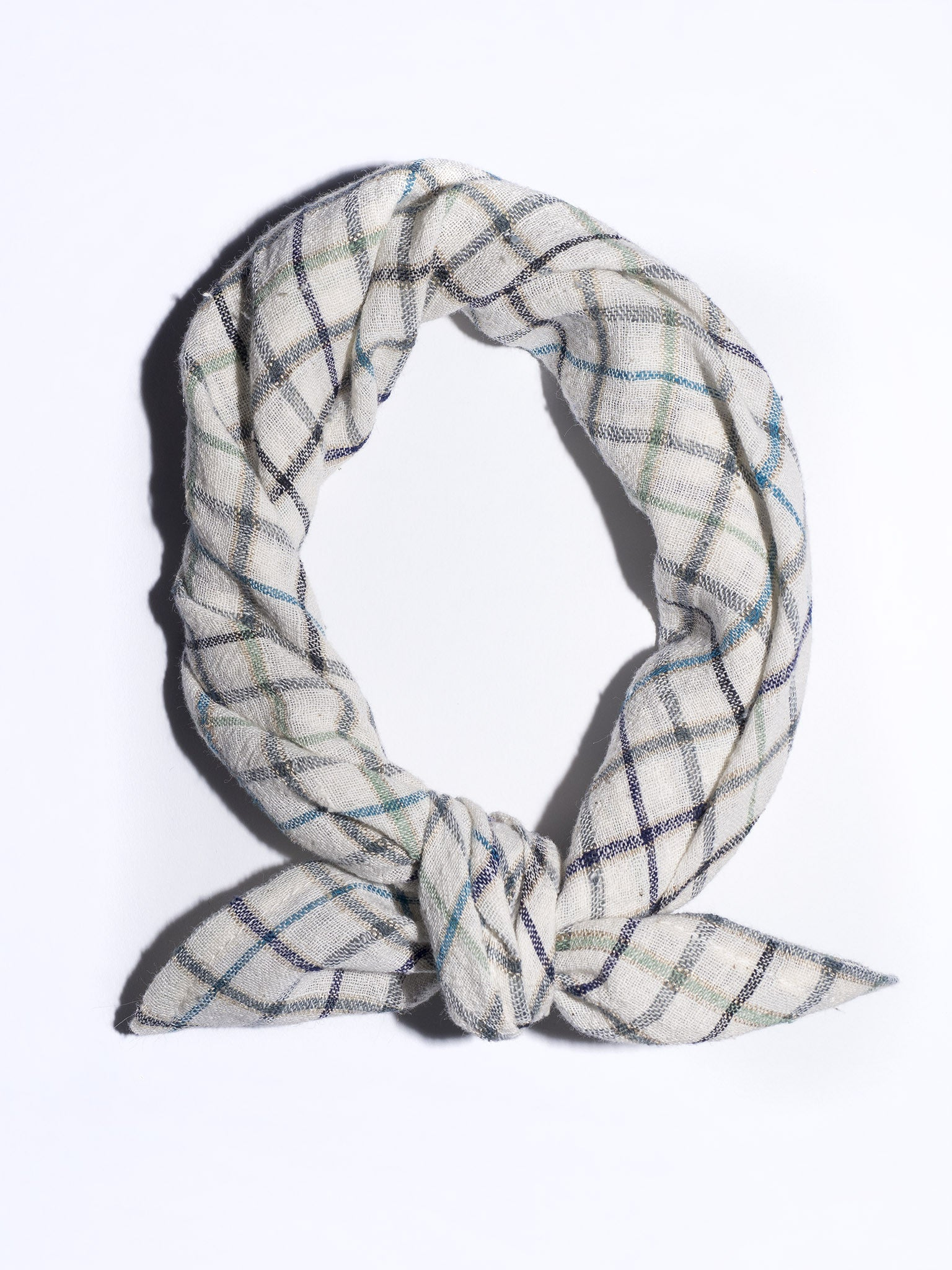 Square Scarf in Ivory Plaid