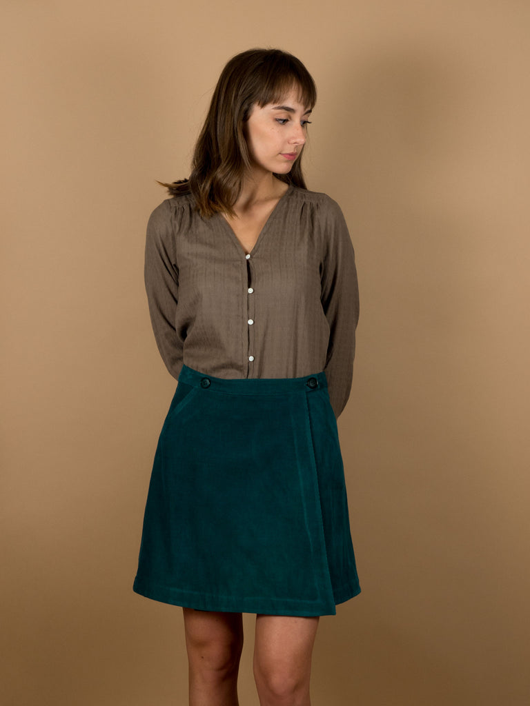 Ivy Skirt in Evergreen Corduroy
