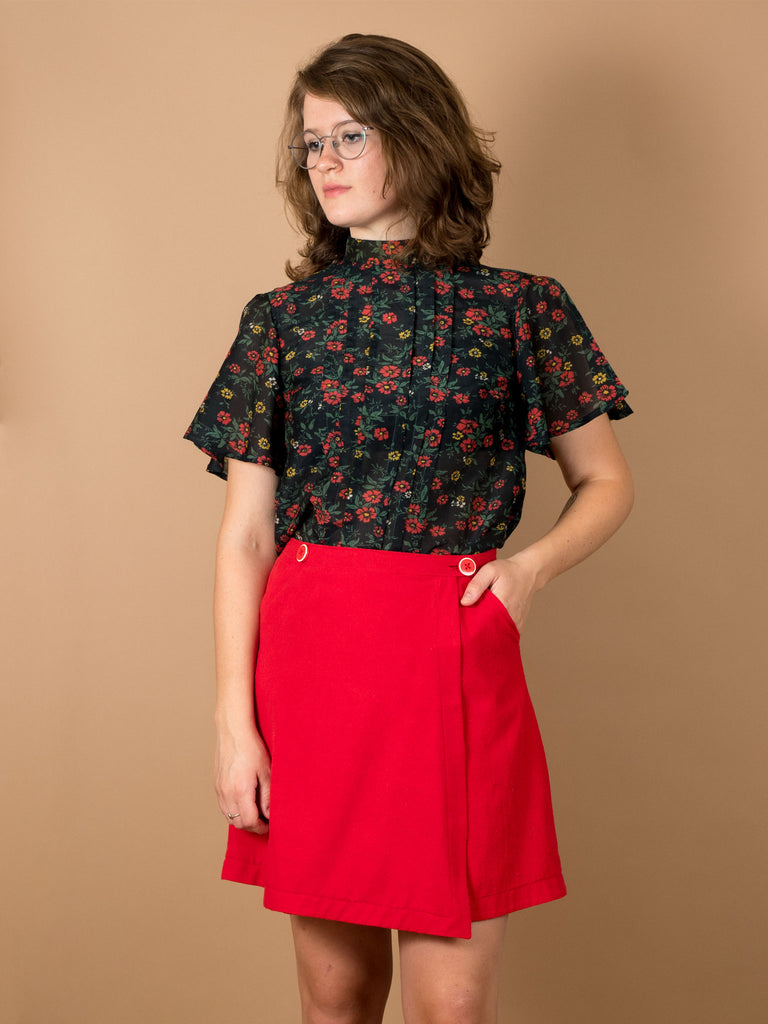 Ivy Skirt in Holly Berry Silk Noil