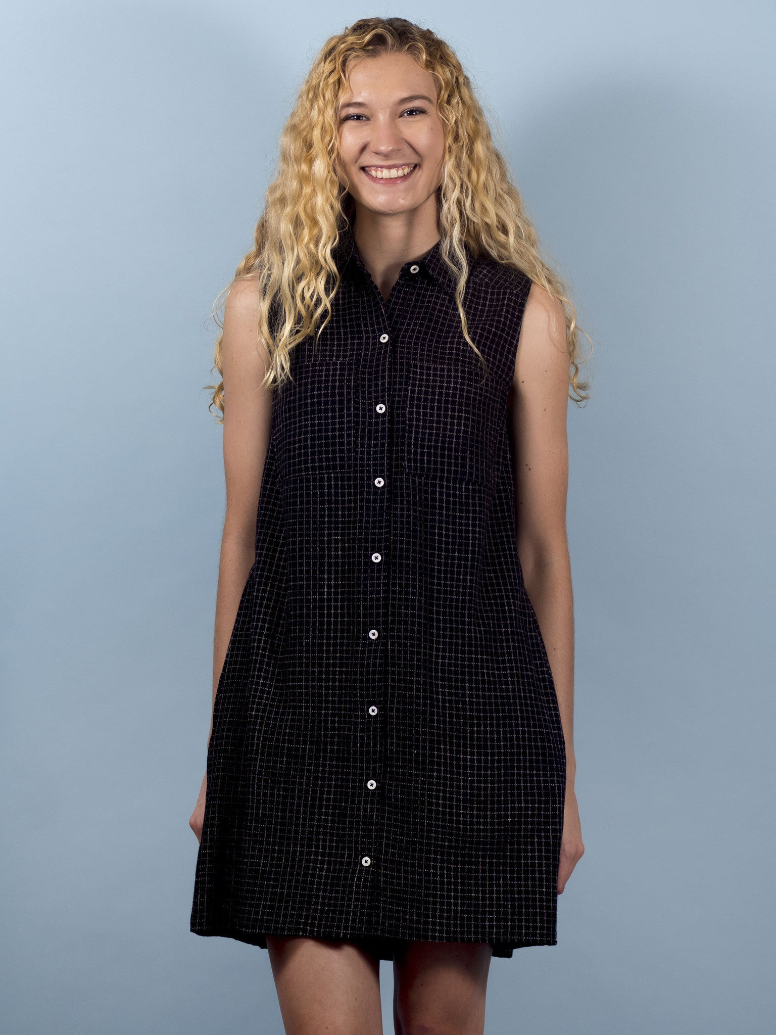 Juniper Dress in Black Grid