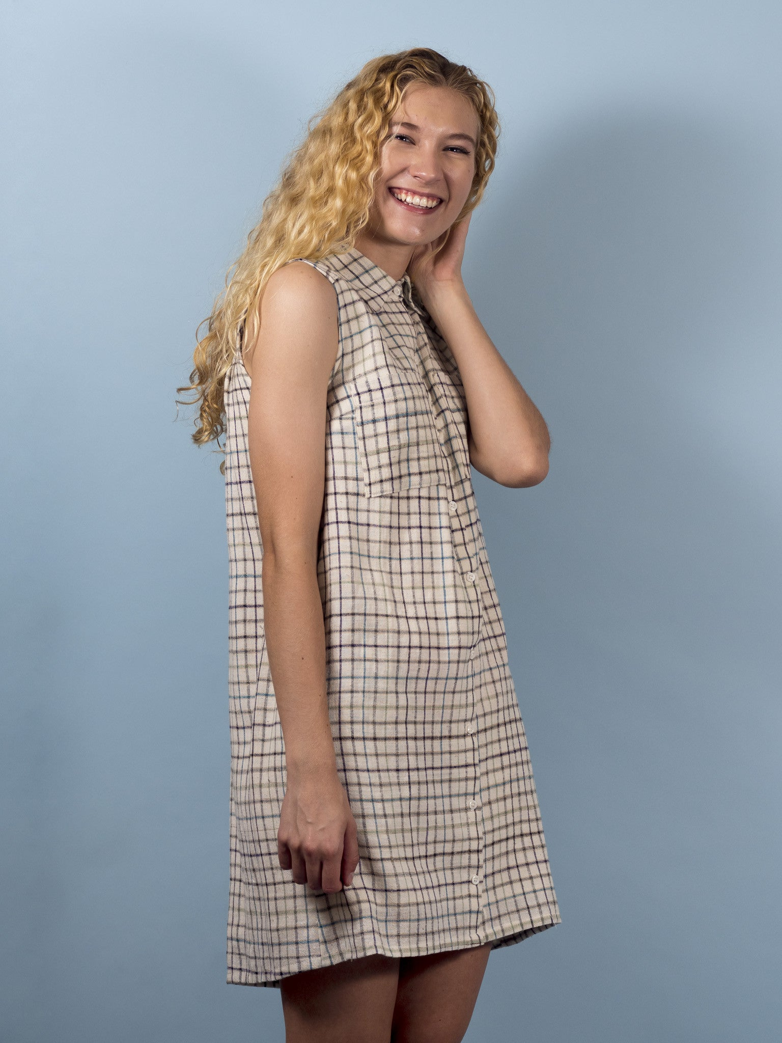 Juniper Dress in Ivory Plaid
