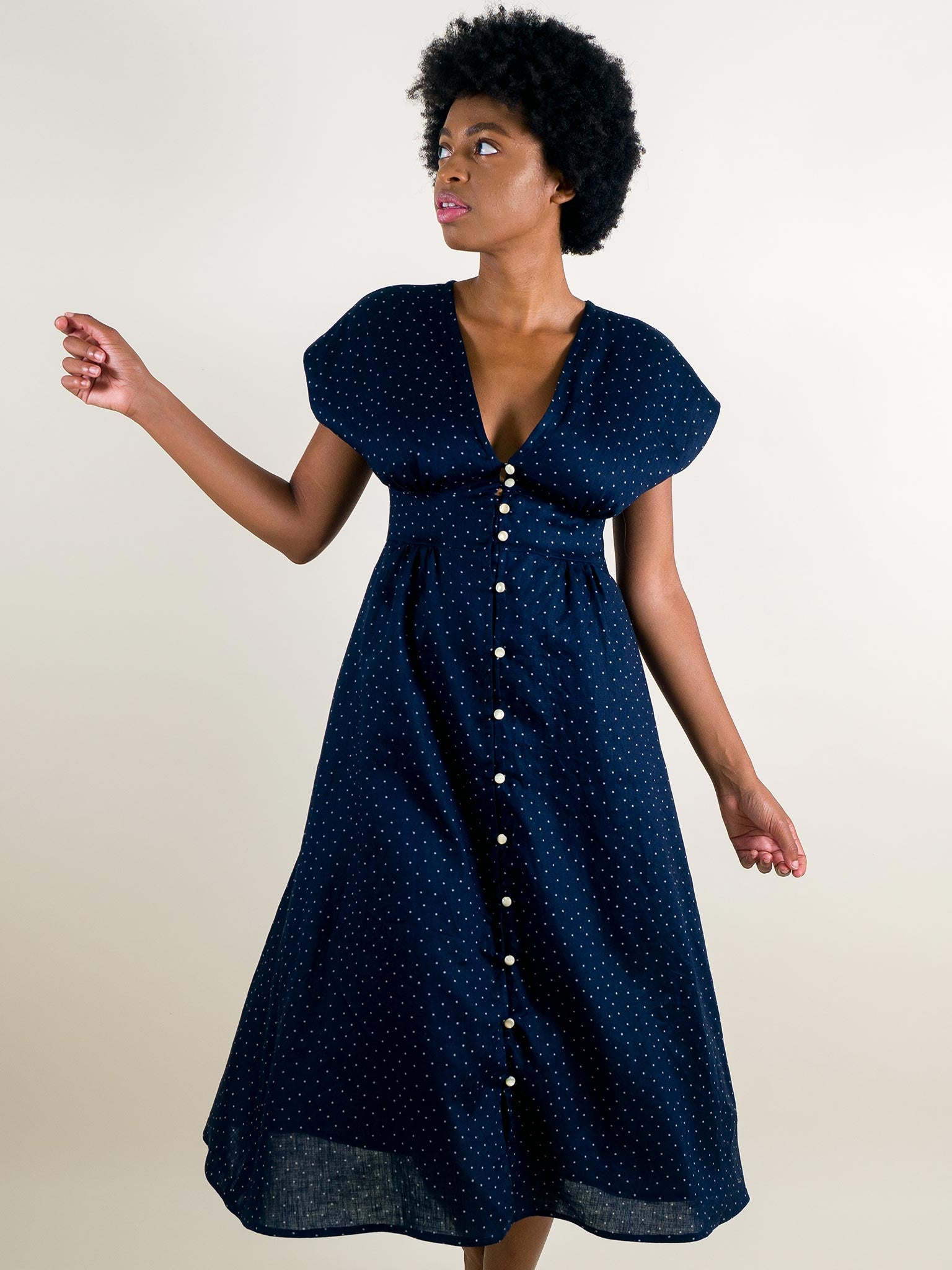 Kat Dress in Navy Dot