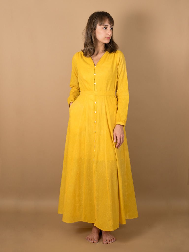 Leonor Dress in Saffron Dot