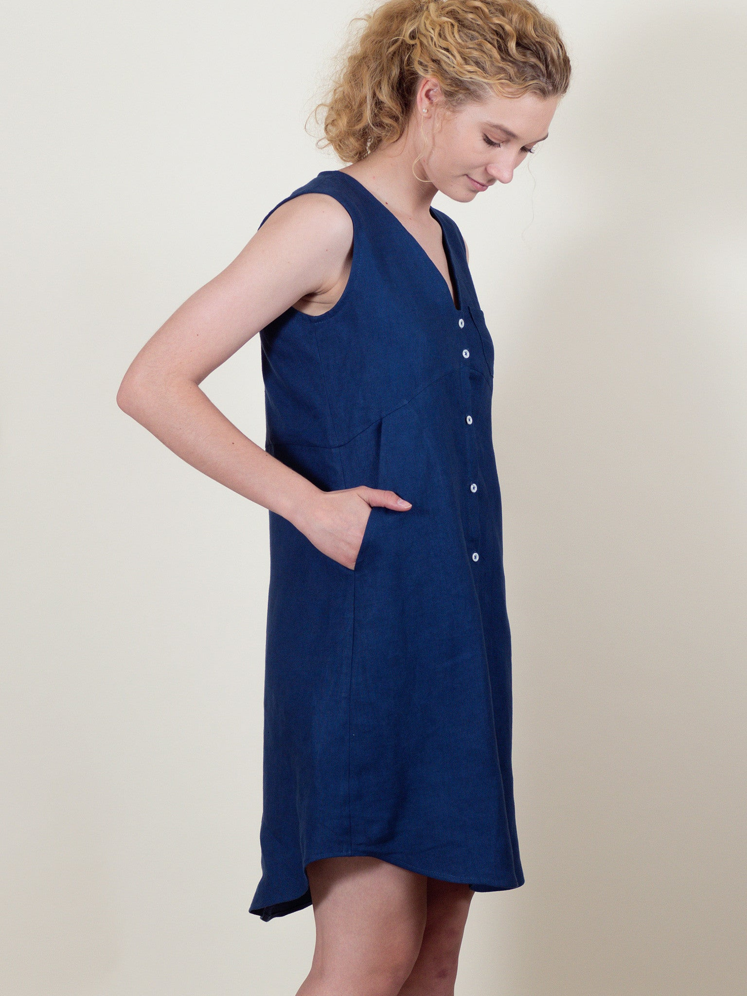 Lily Dress in Blueberry Linen