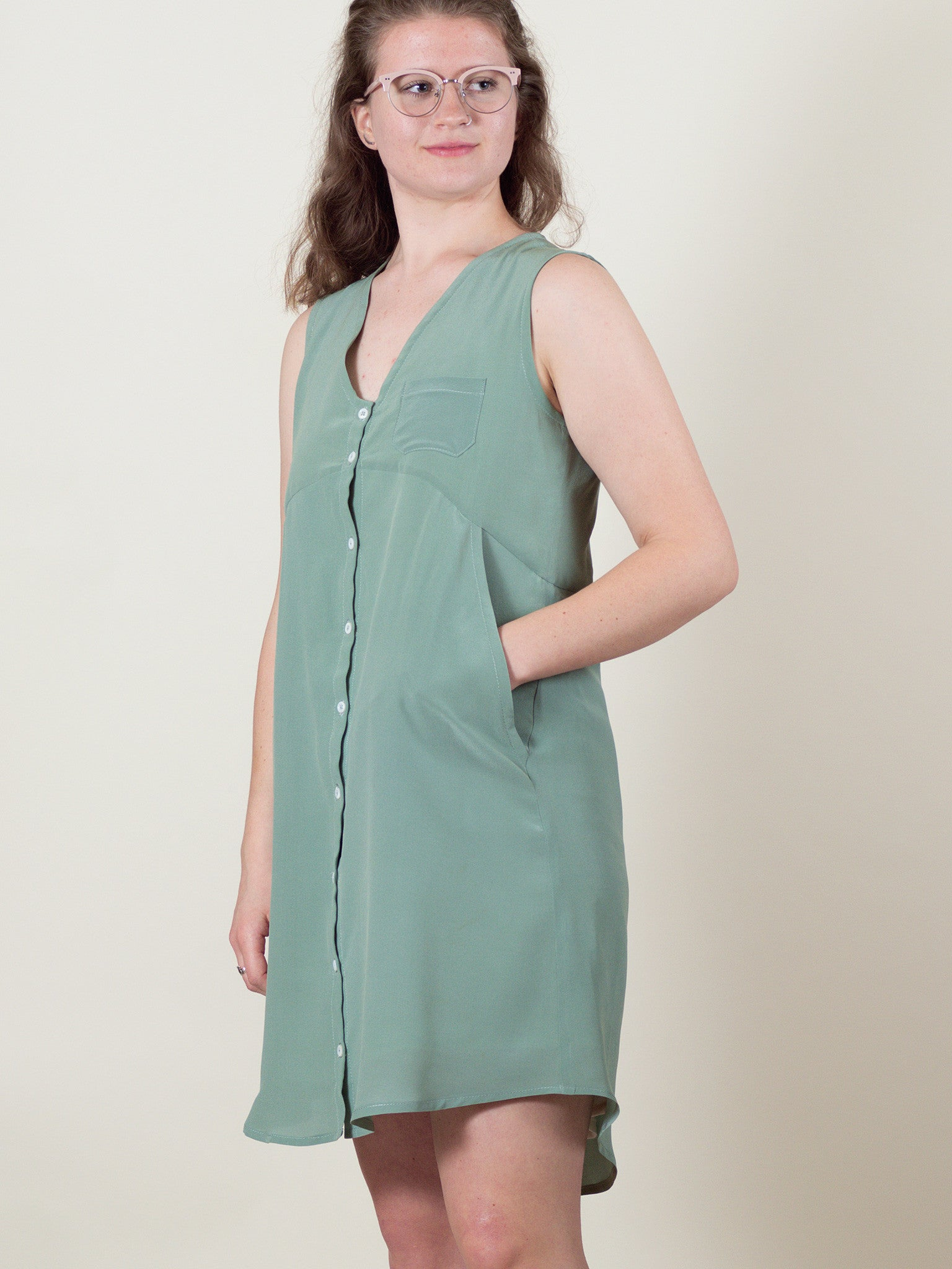 Lily Dress in Sage Silk