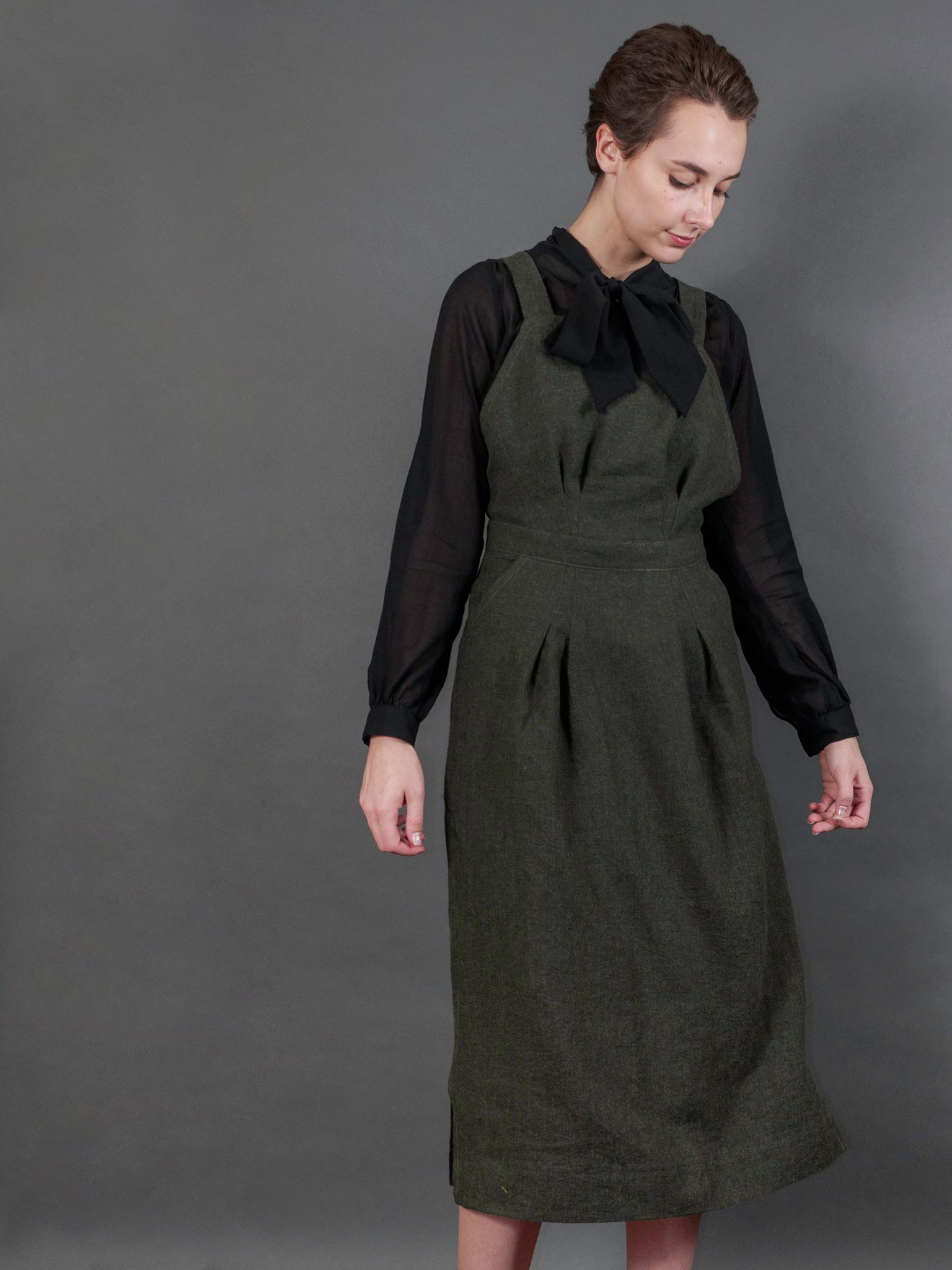 Margaret Dress in Antique Moss