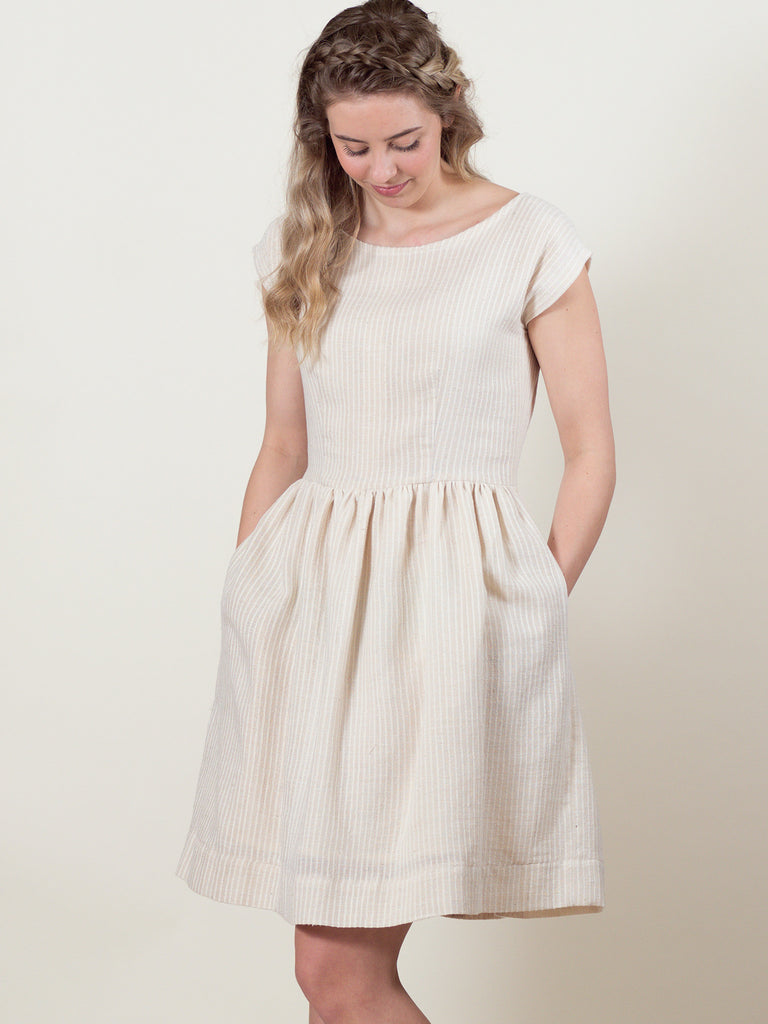 Meadow Dress in Cream Stripe