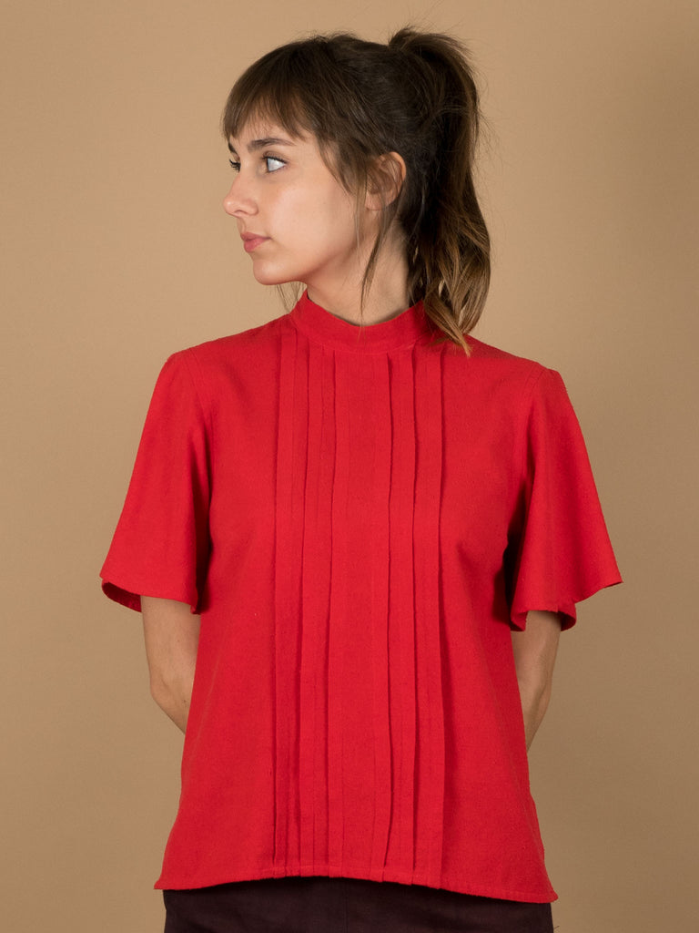 Odette Top in Holly Berry Silk Noil