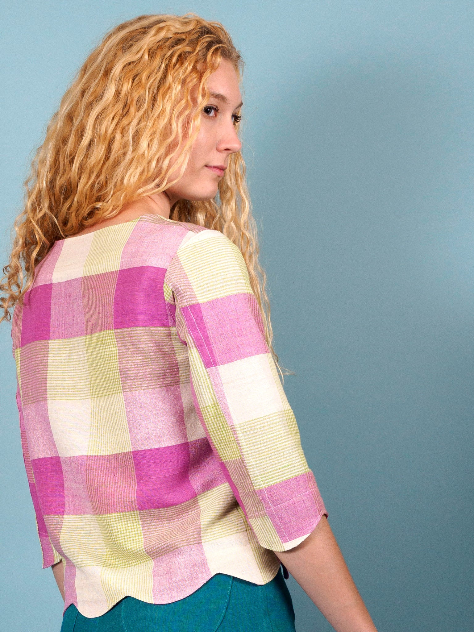 Peahen Jacket in Iris Plaid