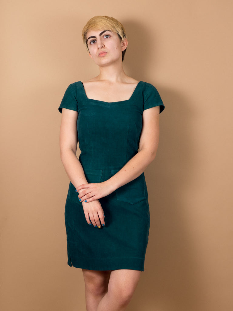 Phoebe Dress in Evergreen Corduroy