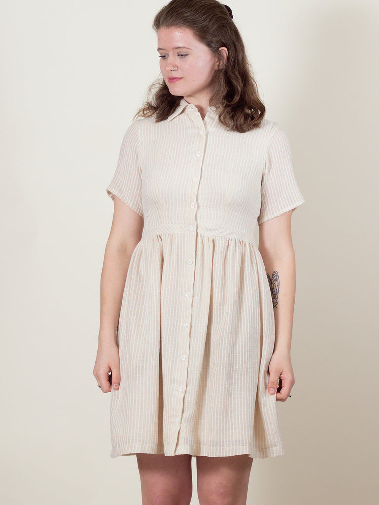 Picnic Dress in Cream Stripe