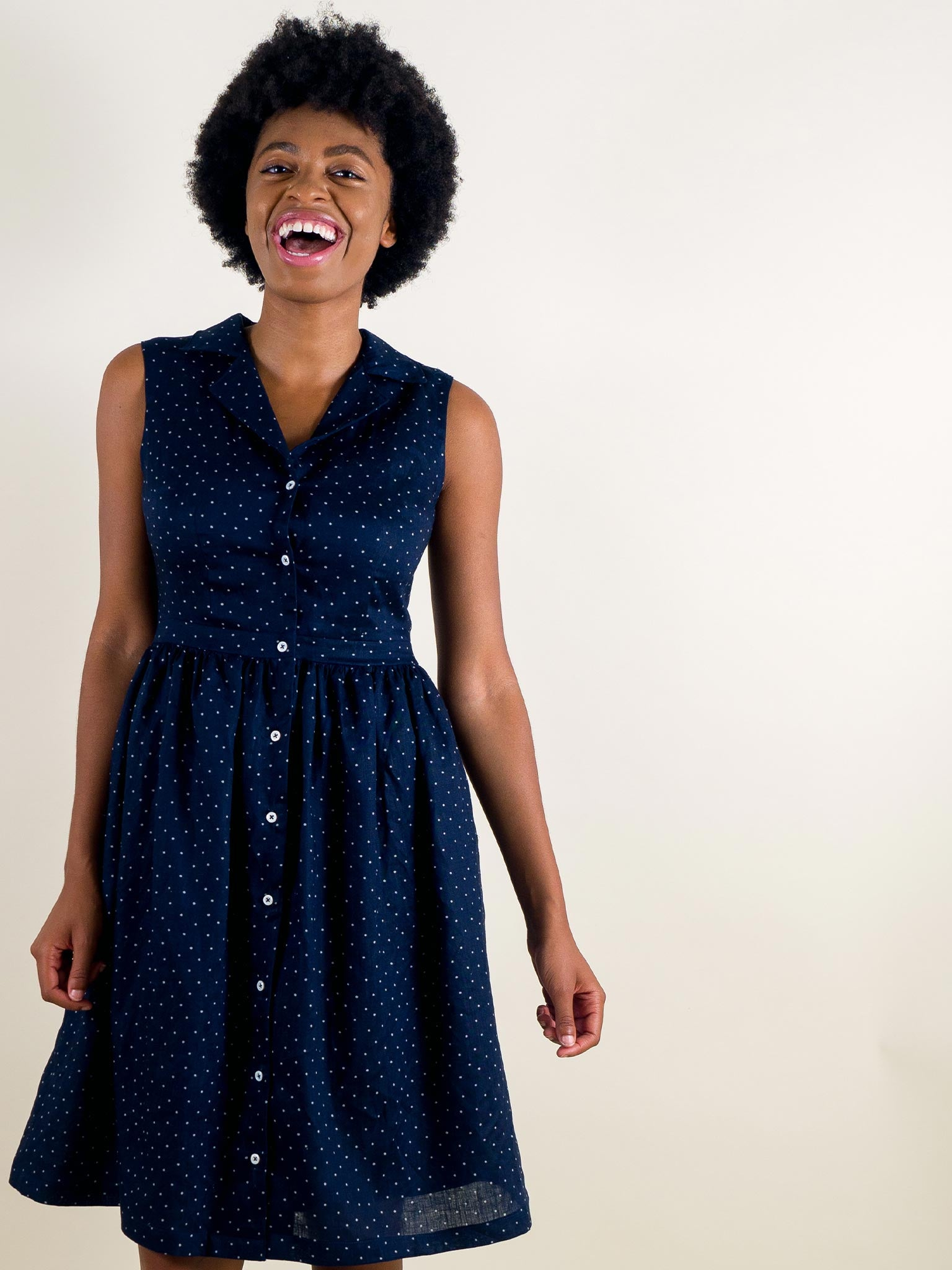 Poplar Dress in Navy Dot