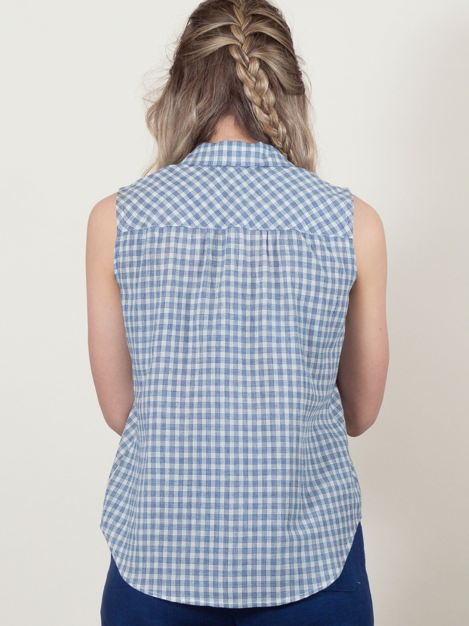 Poppy Top in Navy Check
