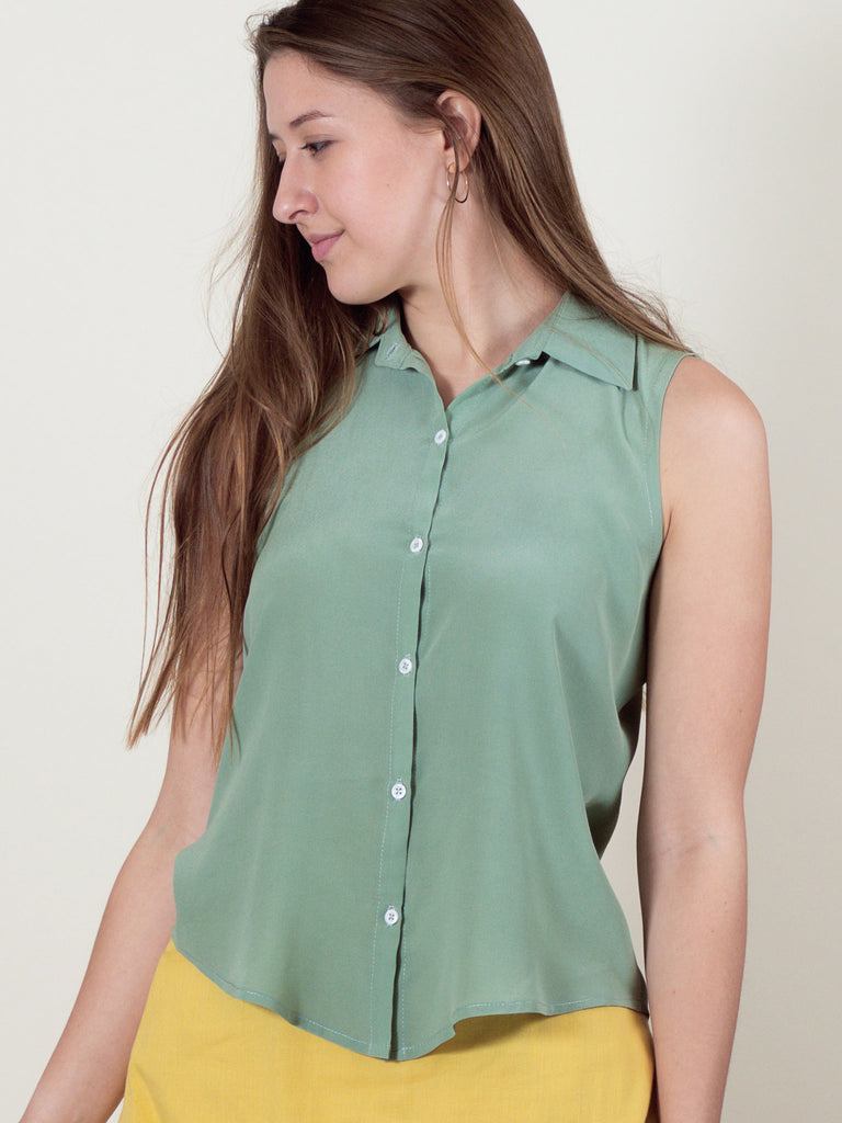 Poppy Top in Sage Silk