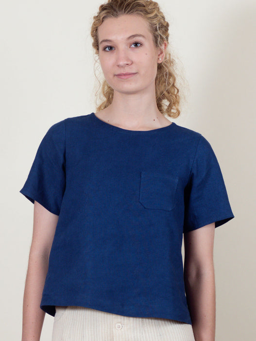 Regatta Top in Blueberry Linen